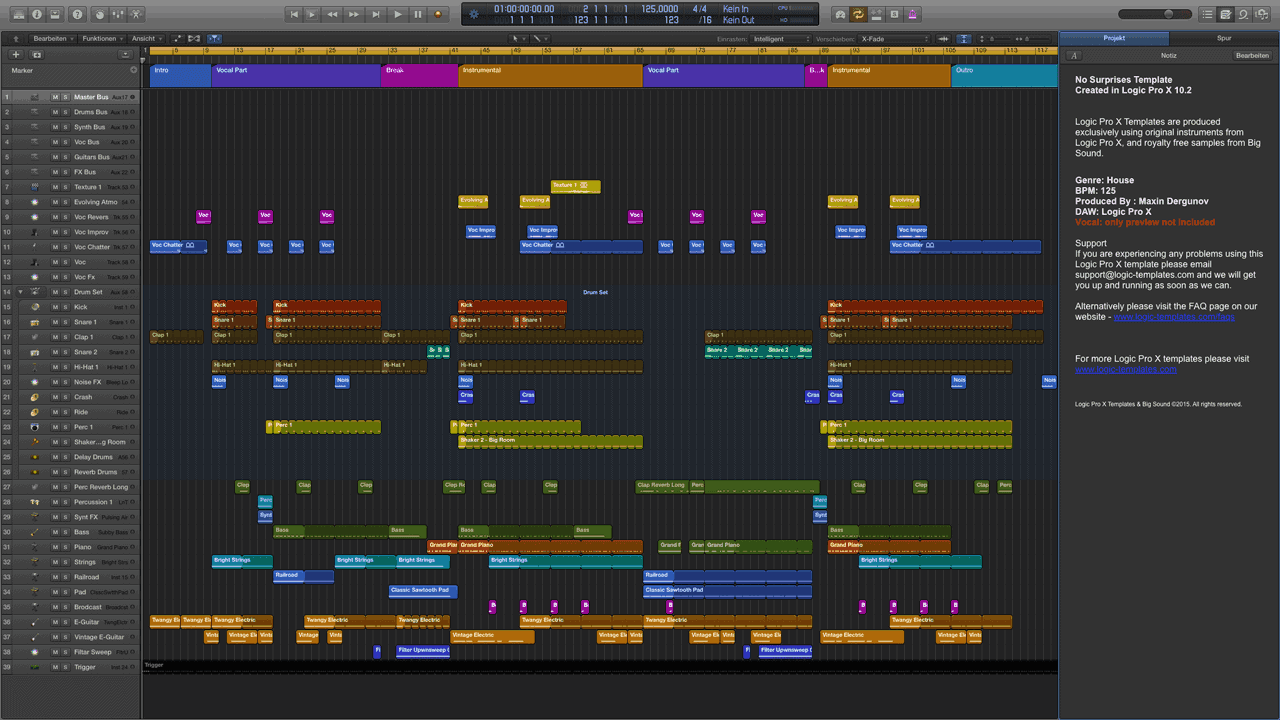 No Surprises Logic Pro X Template