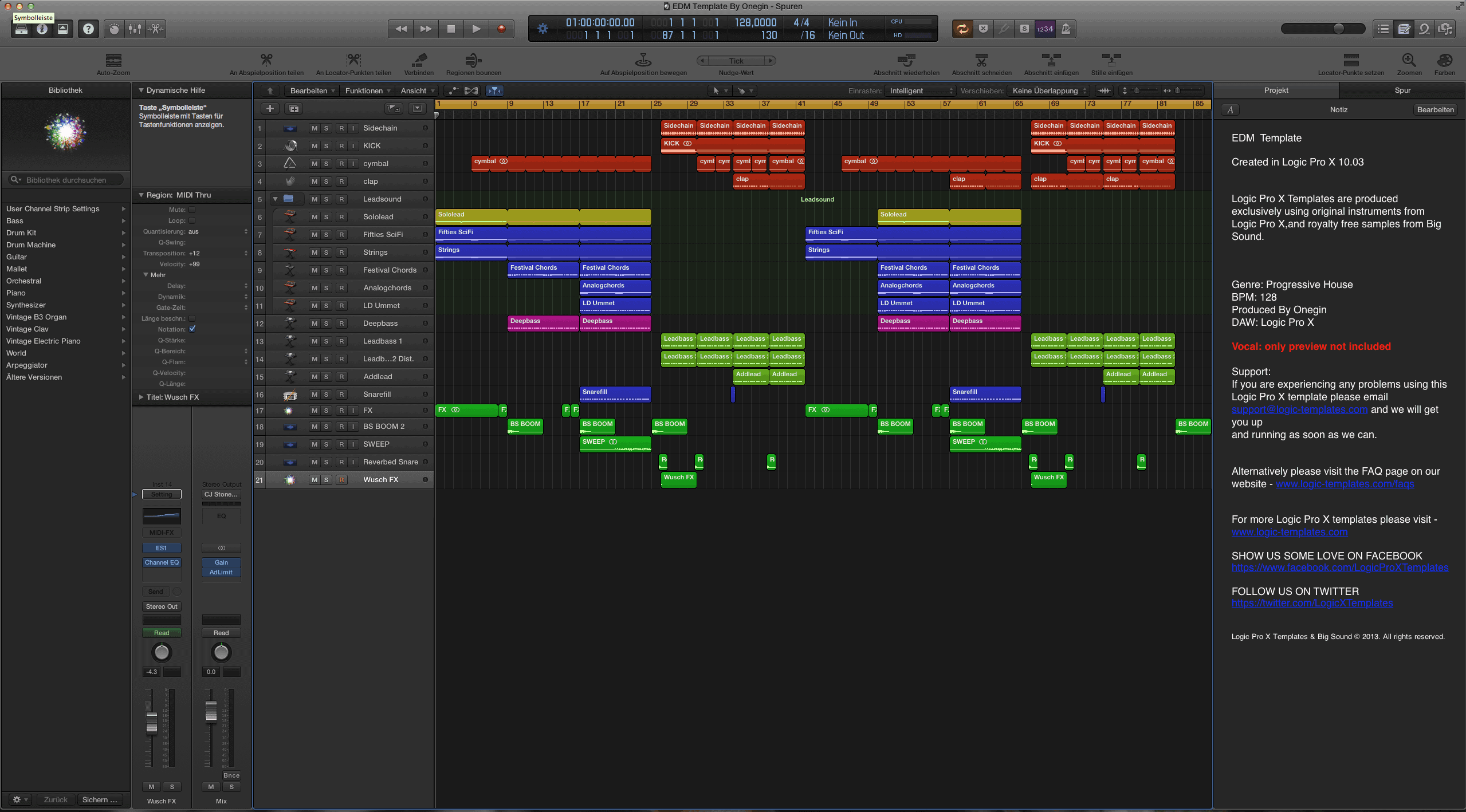 EDM Logic Pro X Template By Onegin - Edm template