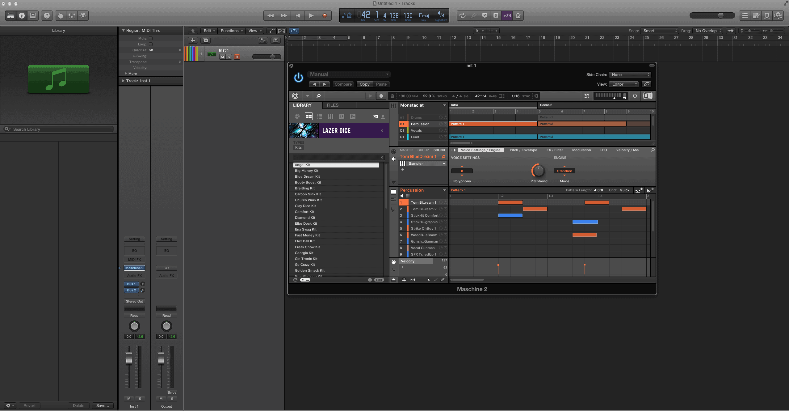 Maschine 2 into Logic Pro X for Mixing
