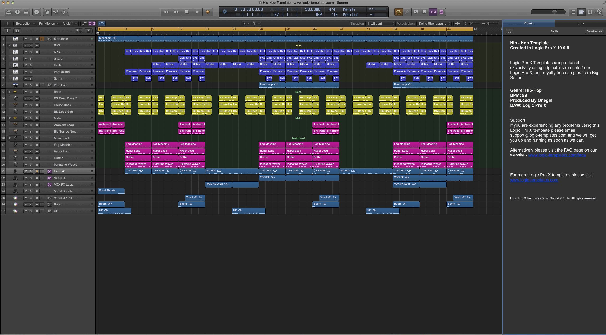 hip-hop logic pro x template