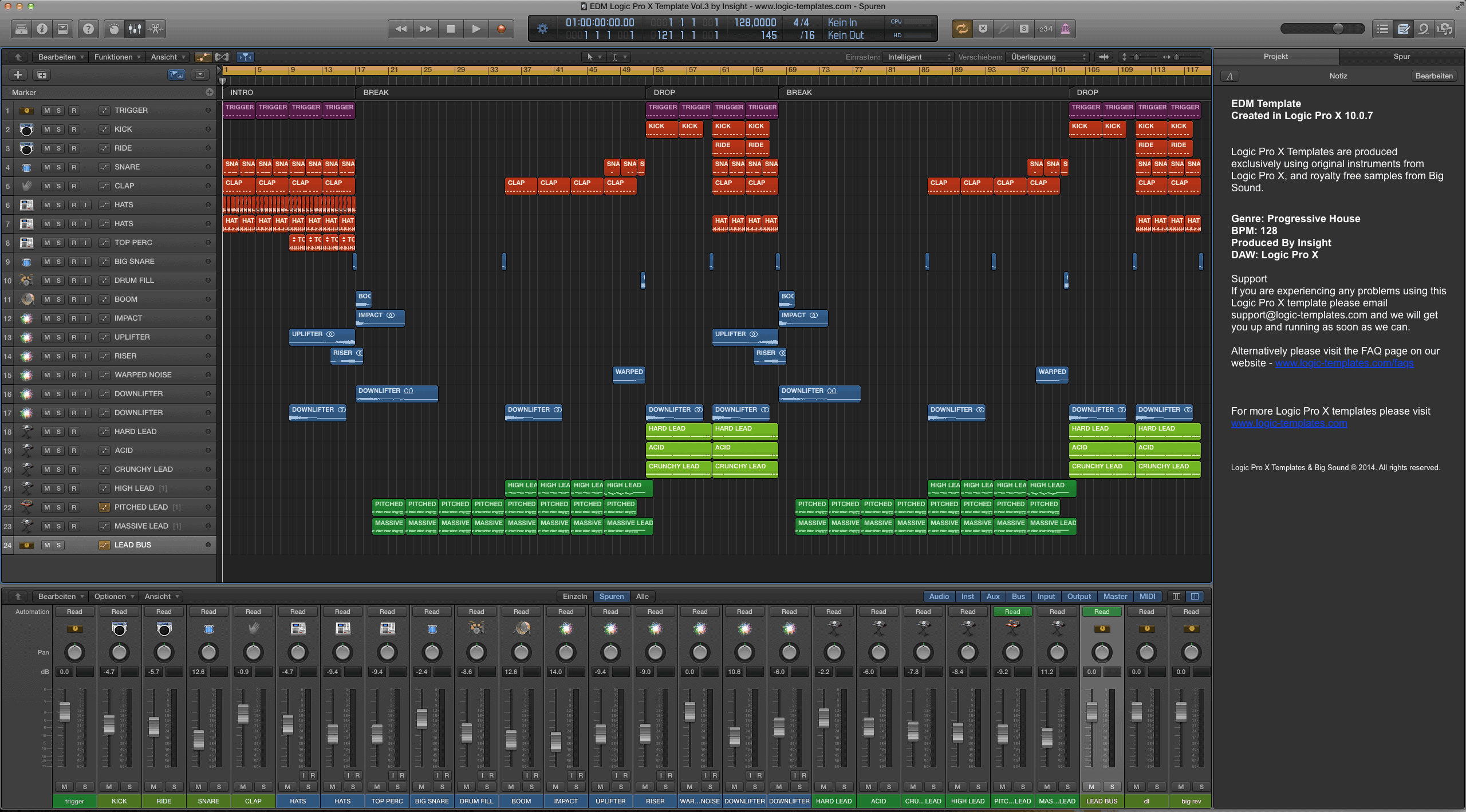 EDM Logic Pro X Template Vol.3