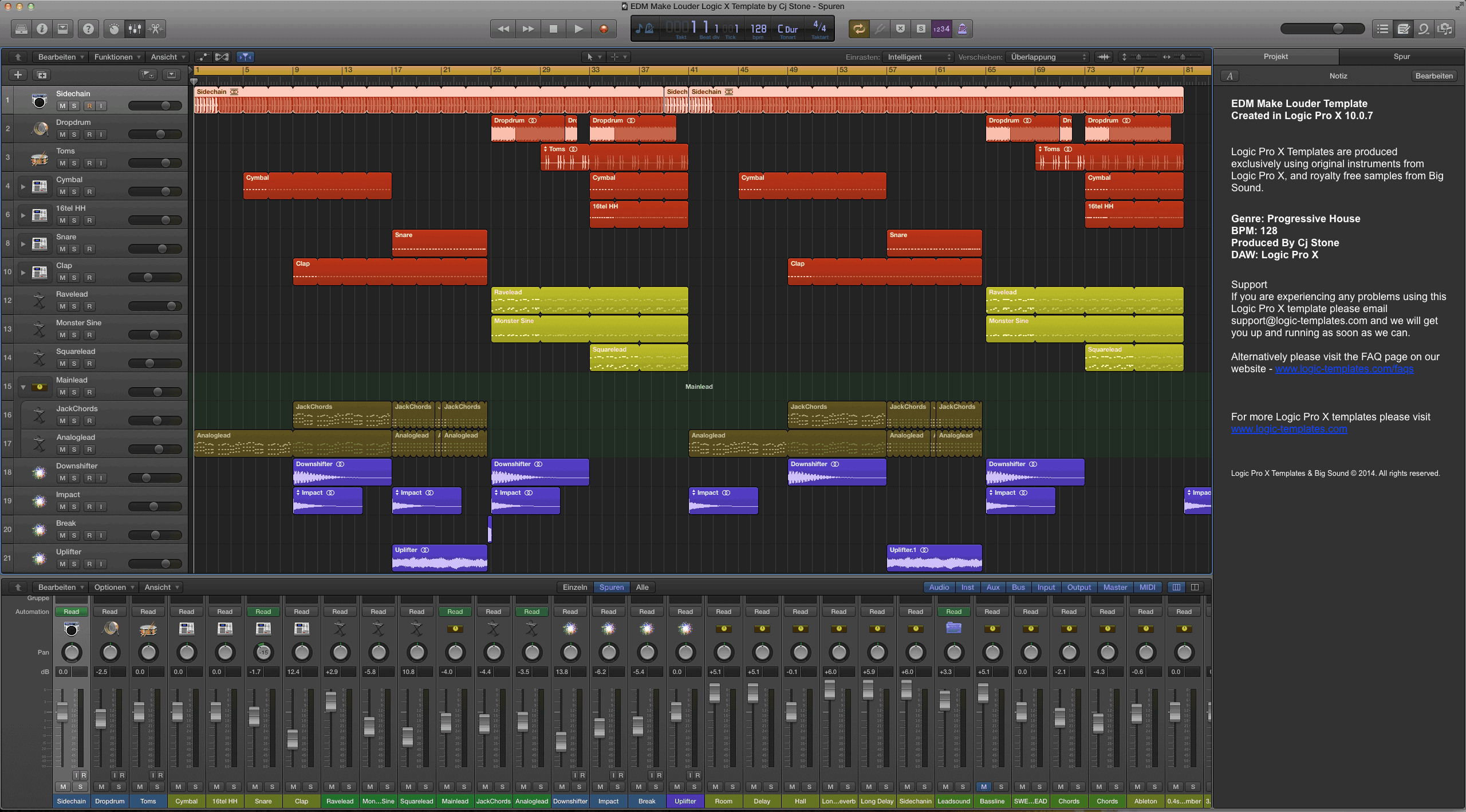EDM Make Louder Logic X Template by Cj Stone
