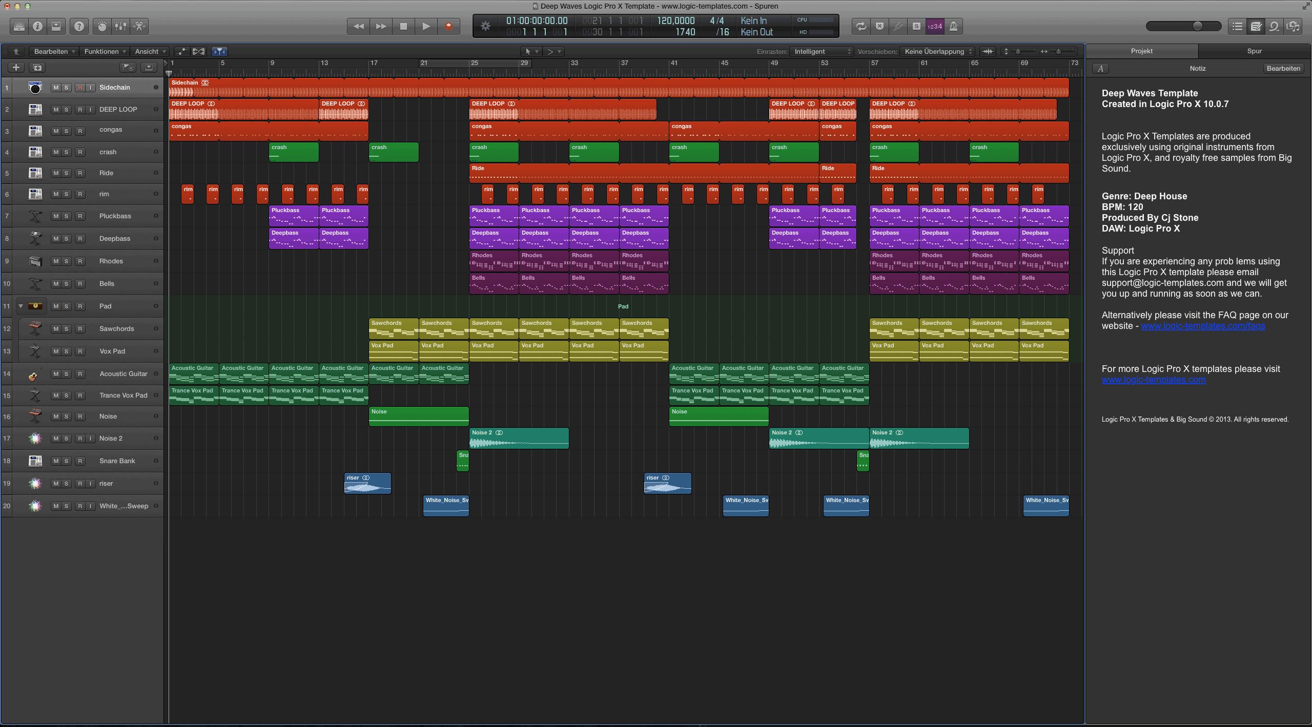 Deep Waves Logic Pro X Template