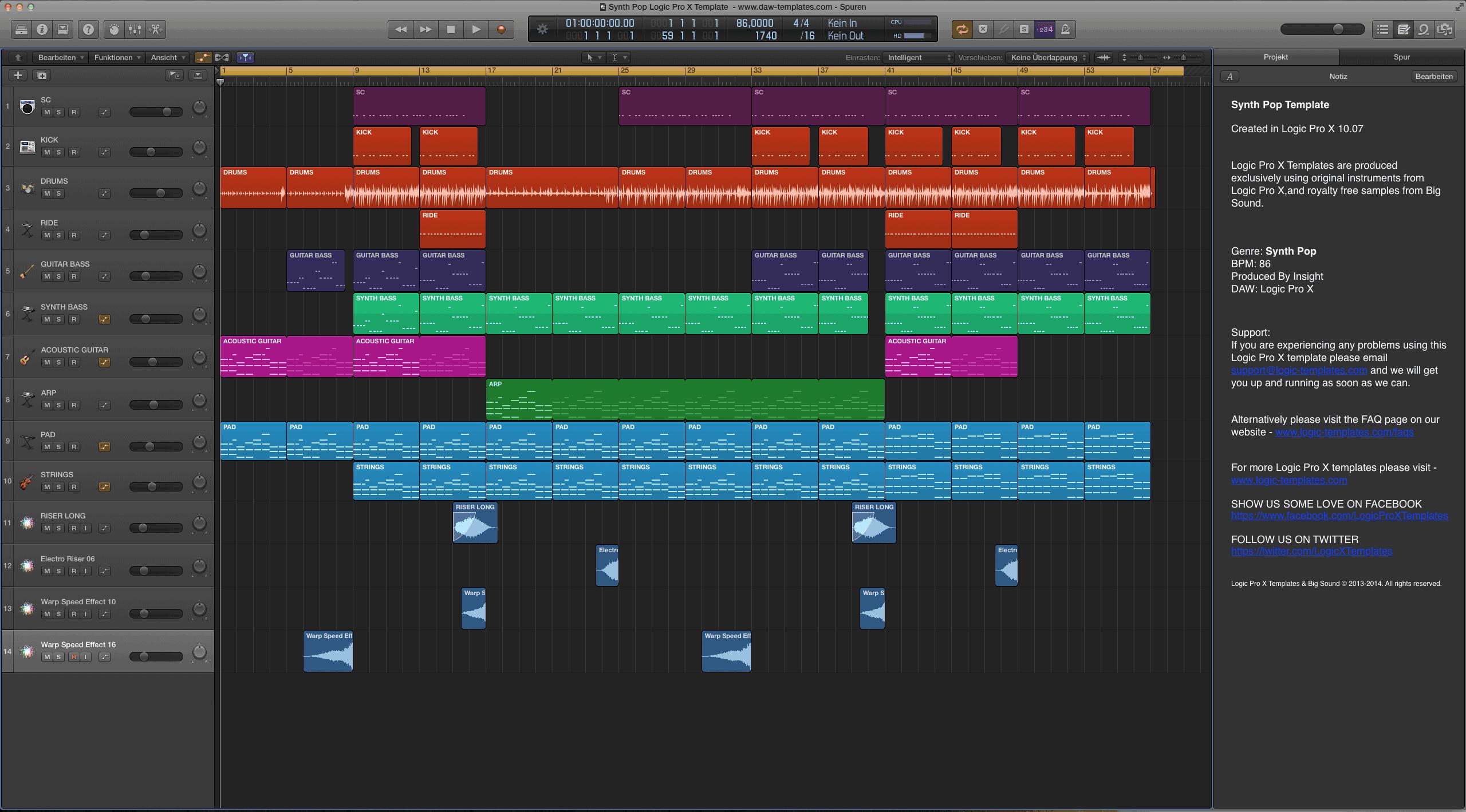 Synth Pop Logic Pro X Template