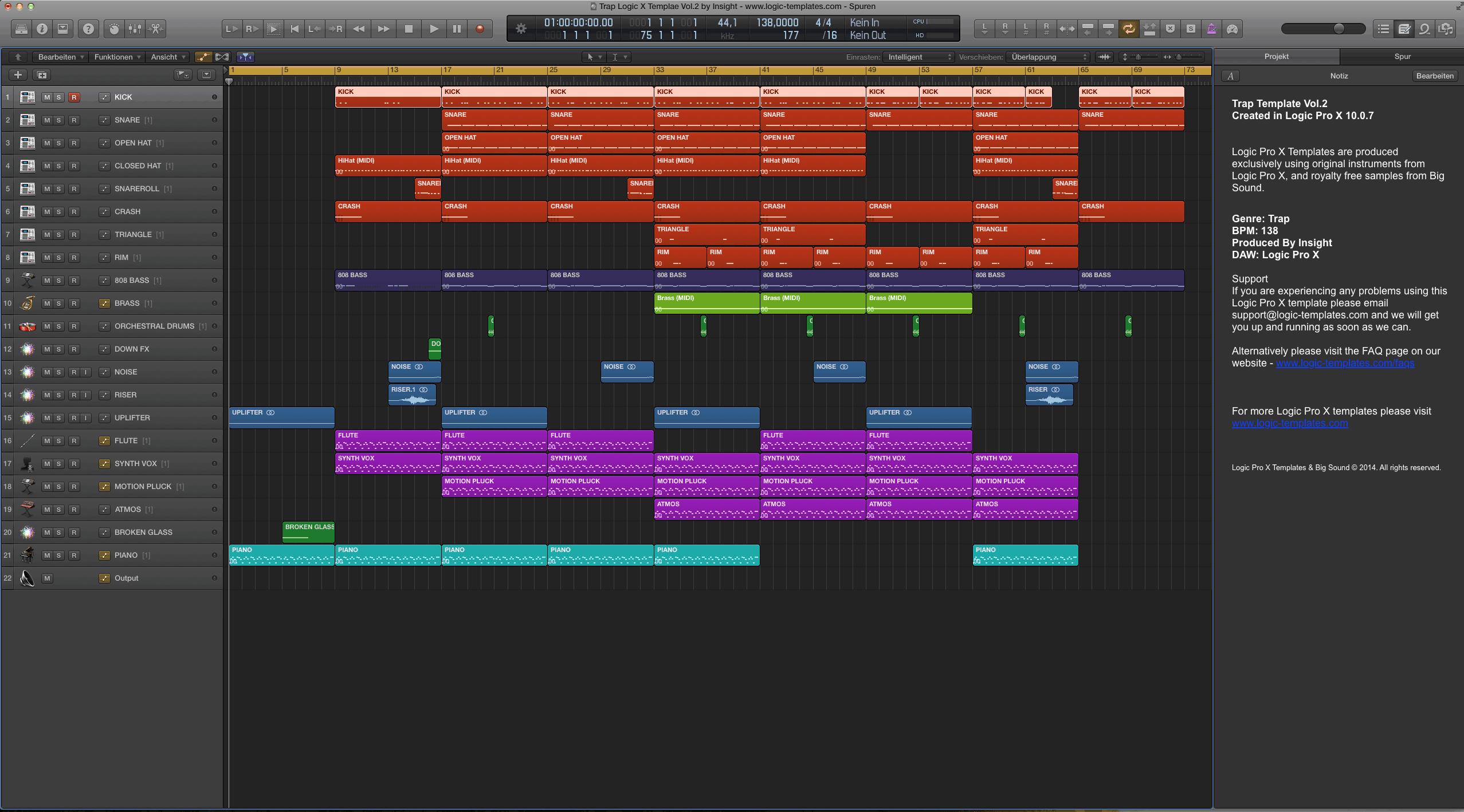 Trap Logic Pro X Templae Vol.2 by Insight