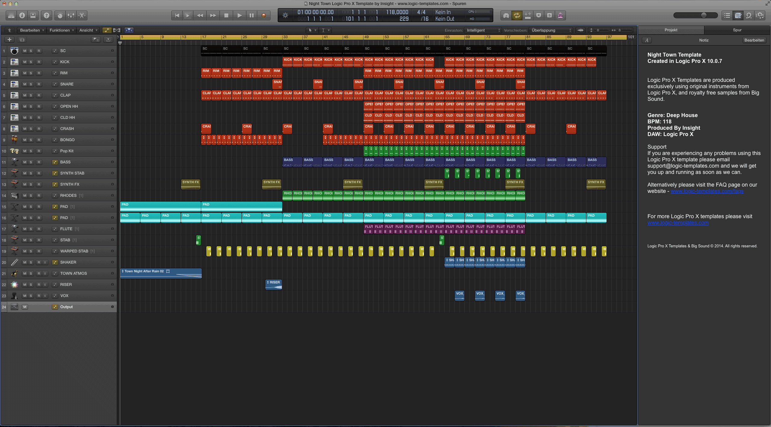 Night Town Logic Pro X Template by Insight