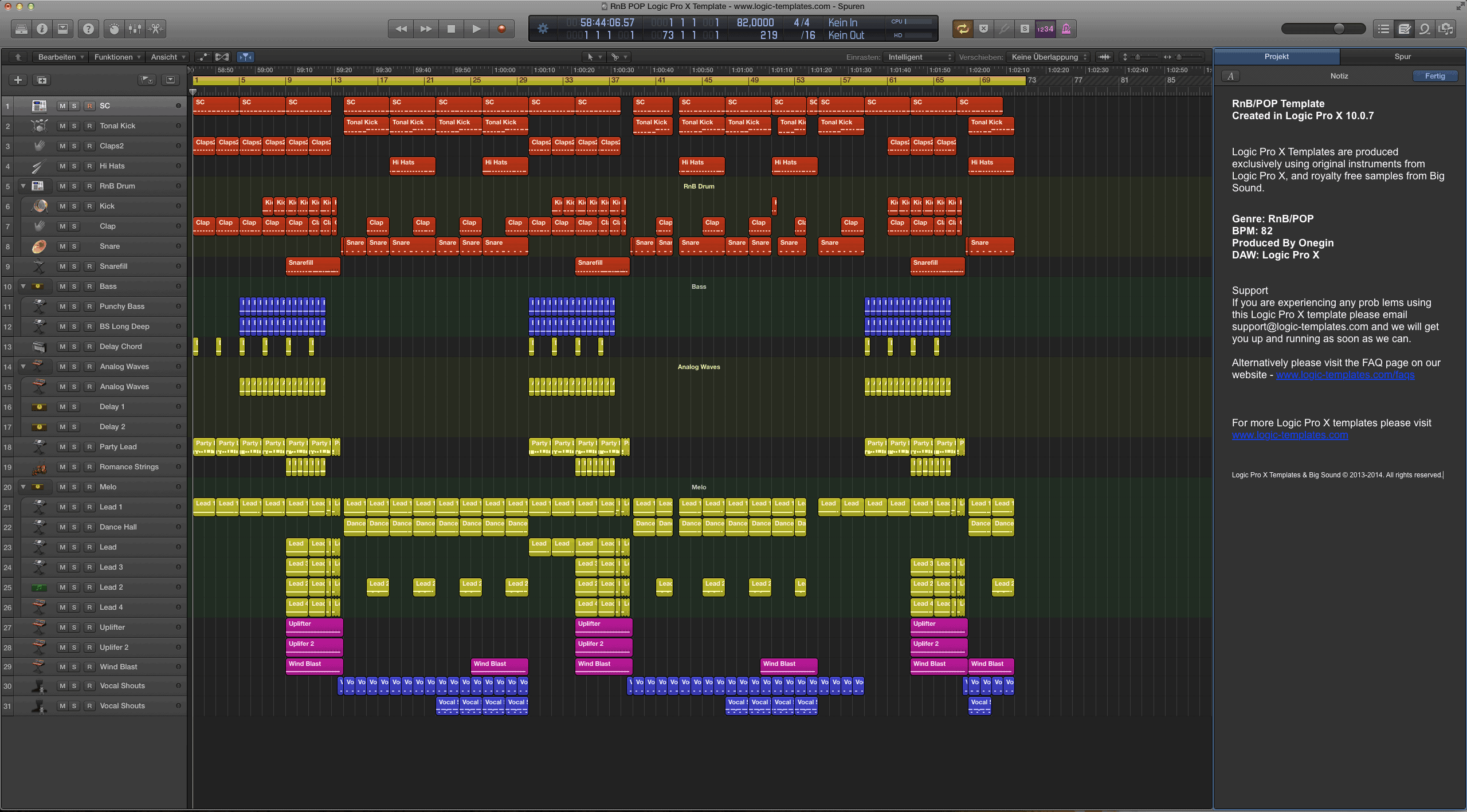 RnB:POP Logic Pro X Template