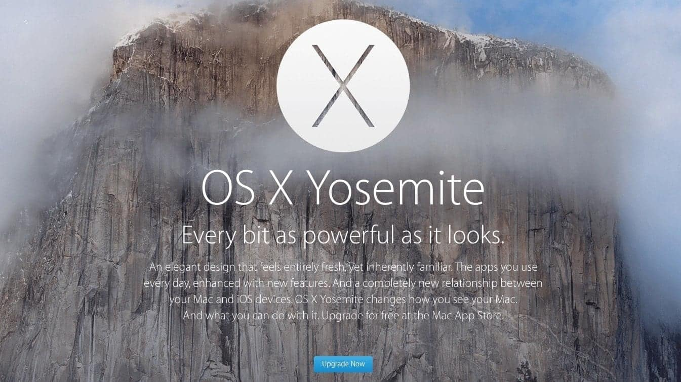 OS X 10.10 Yosemite Apple Upgrade