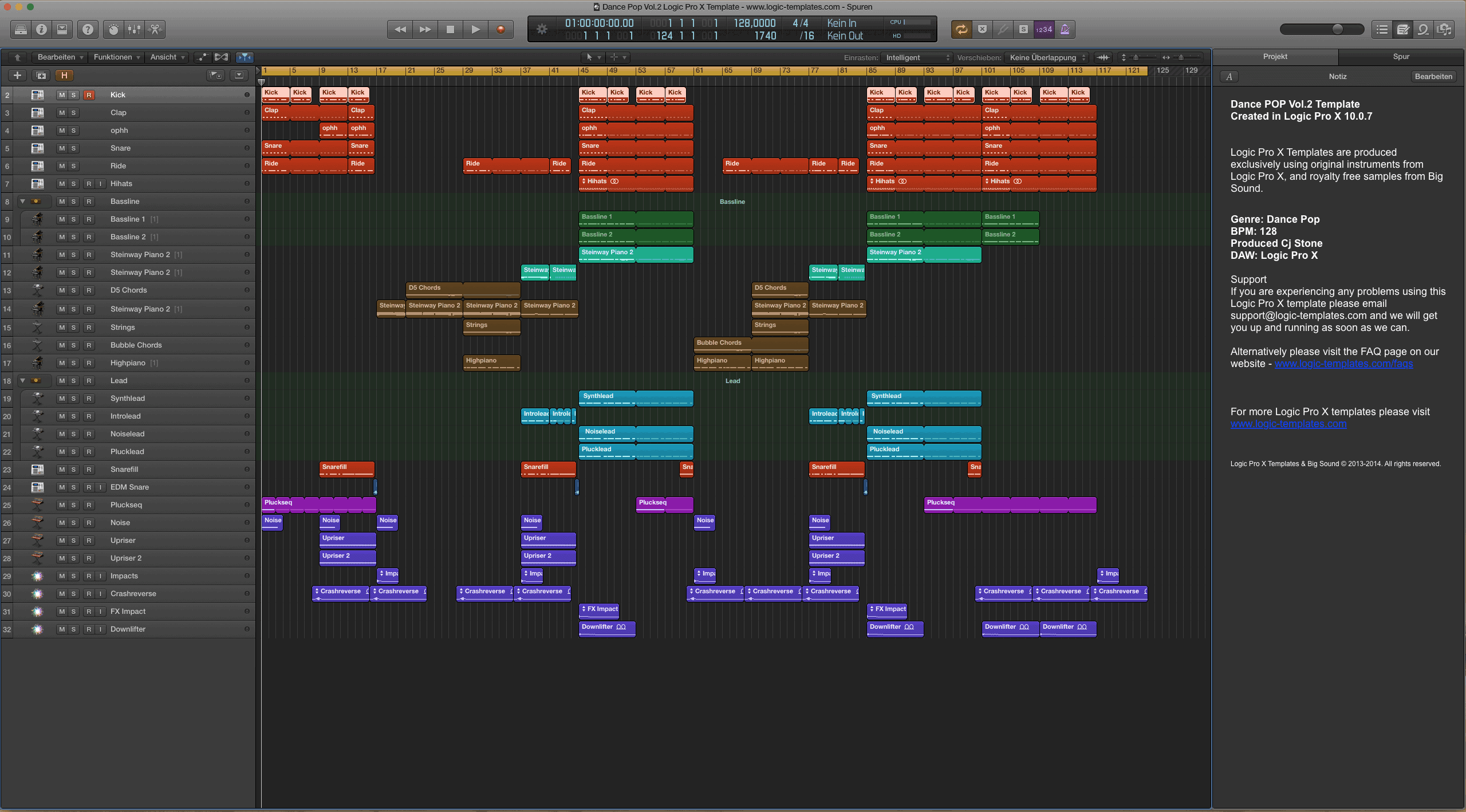Dance Pop Vol.2 Logic Pro X Template