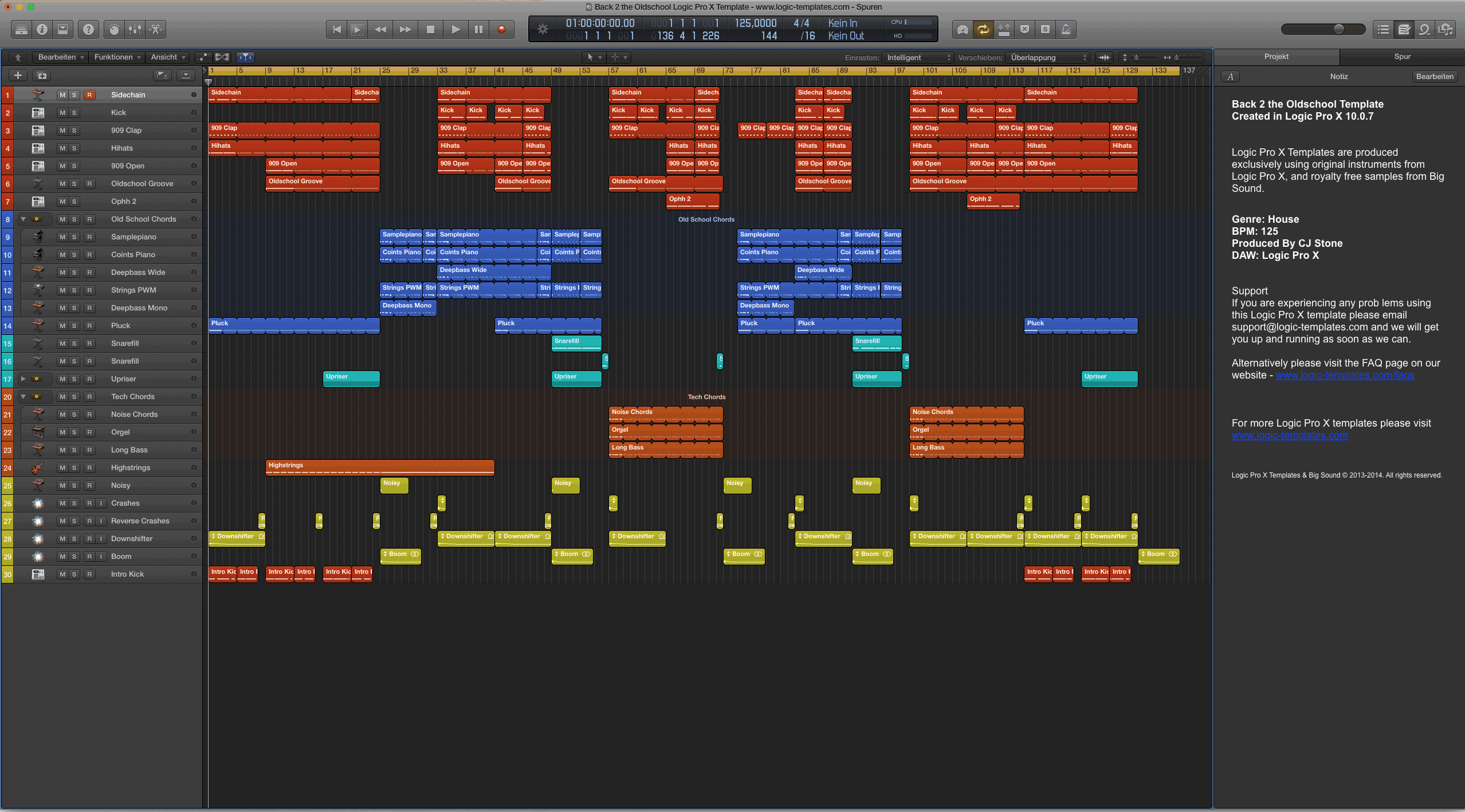 Back 2 the Oldschool Logic Pro X Template
