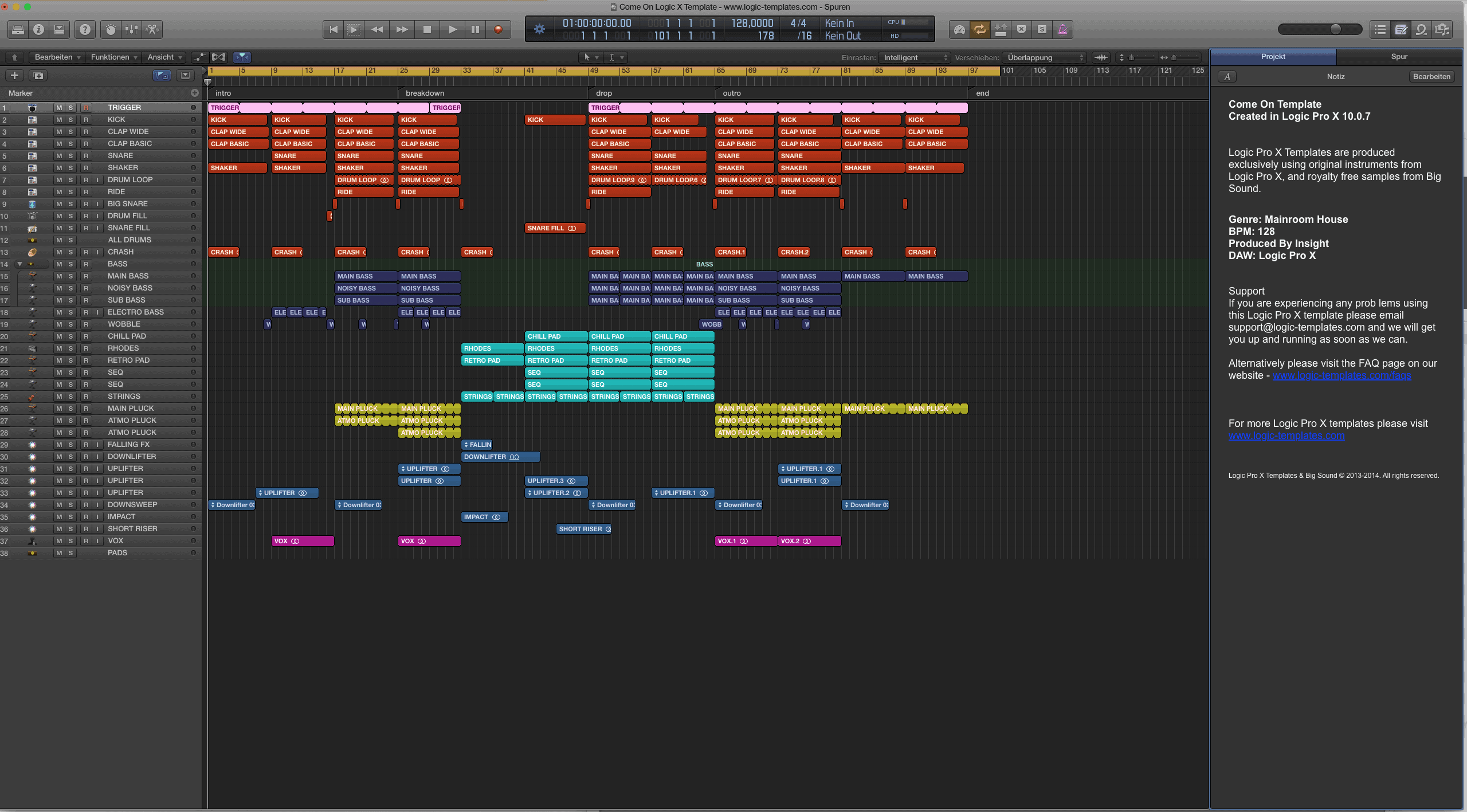 Come On Logic Pro X Template