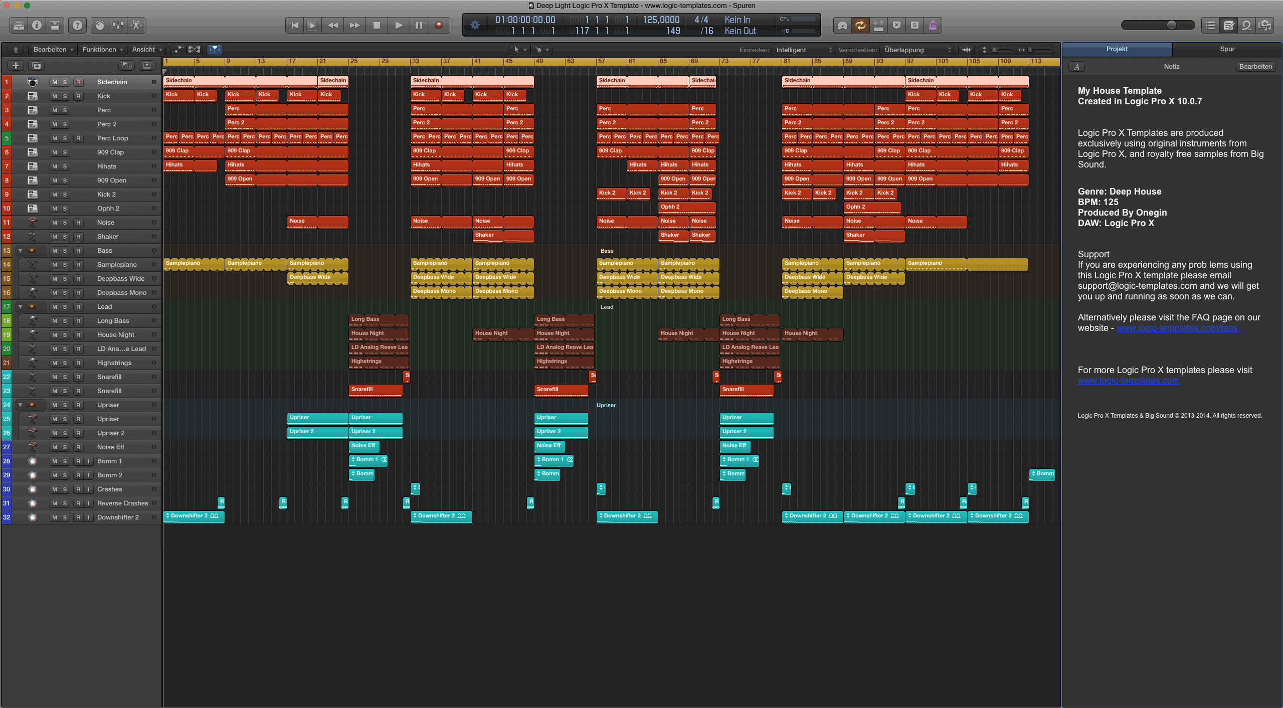 Deep Light Logic Pro X Template