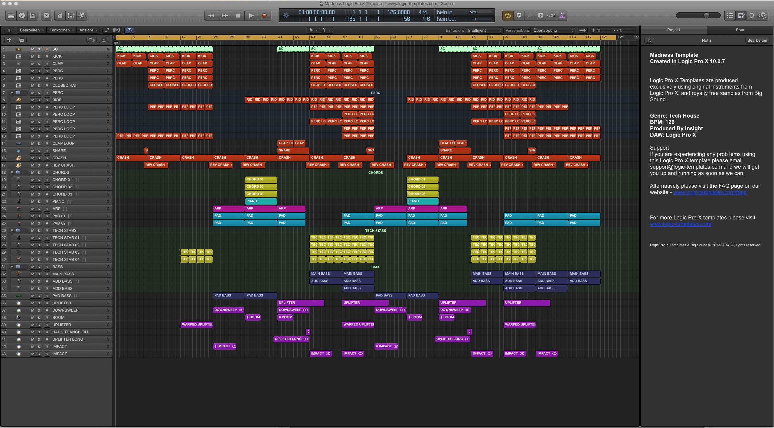Madness Logic Pro X Template
