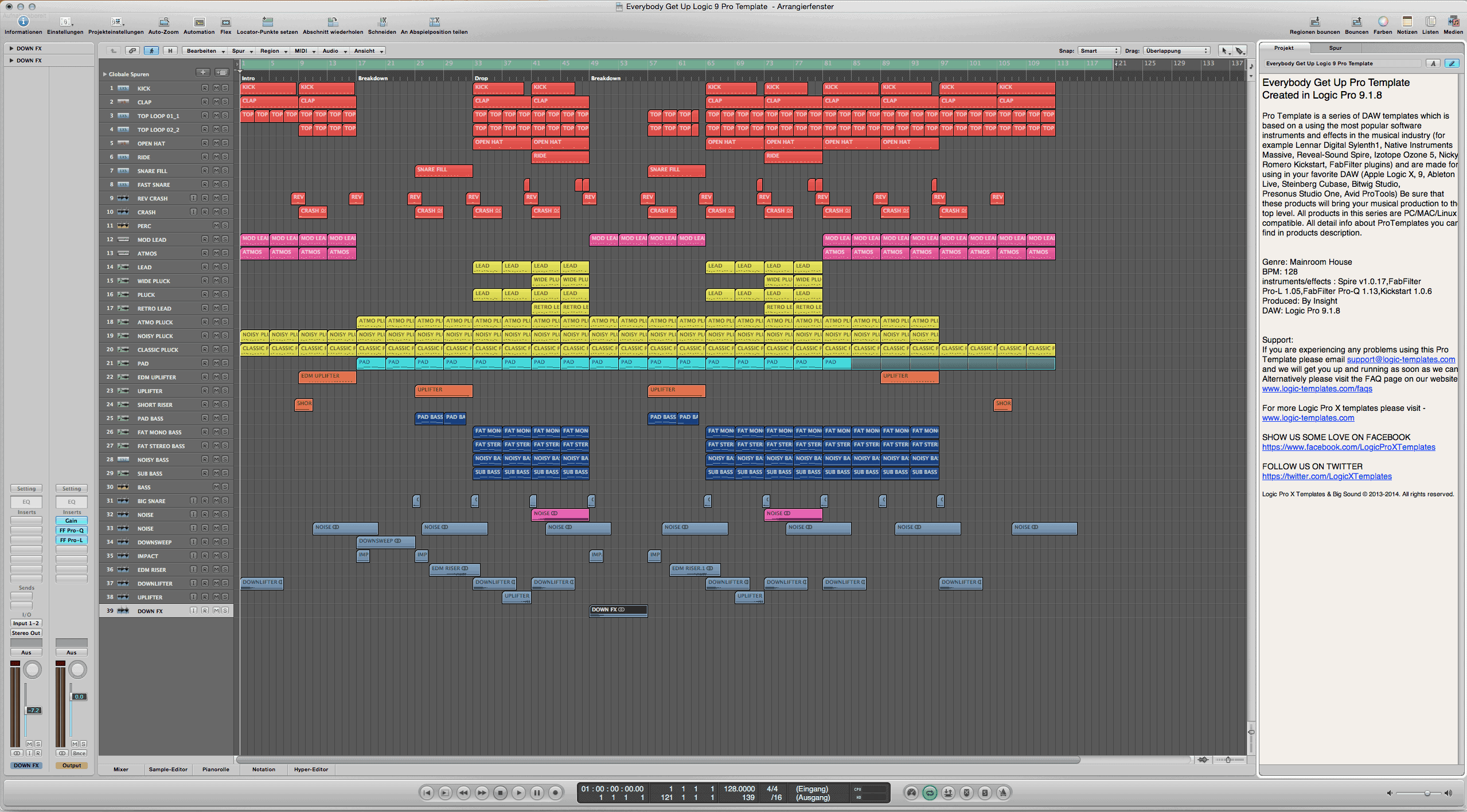 Everybody Get Up Logic 9 Pro Template