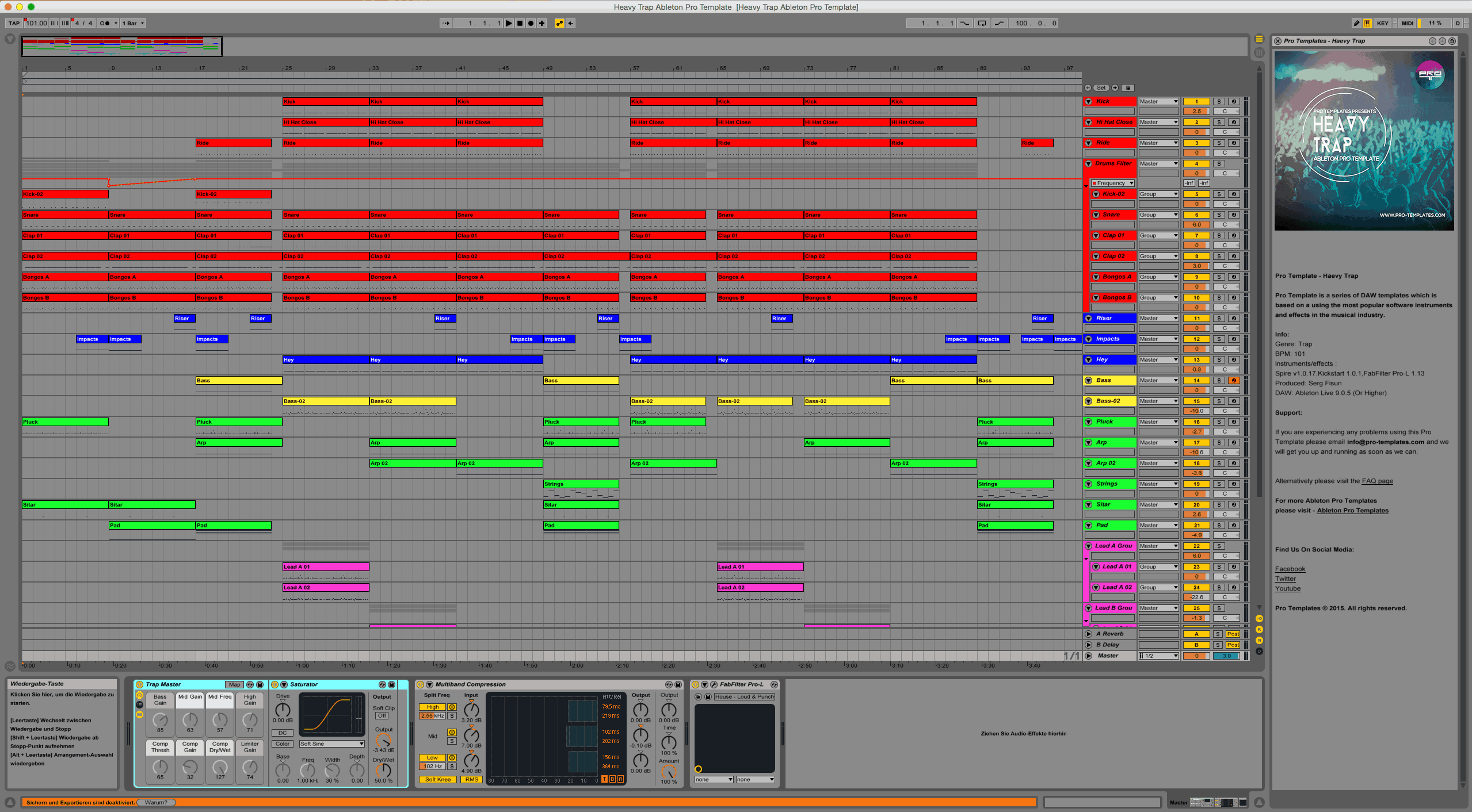 Heavy Trap Ableton Pro Template Project