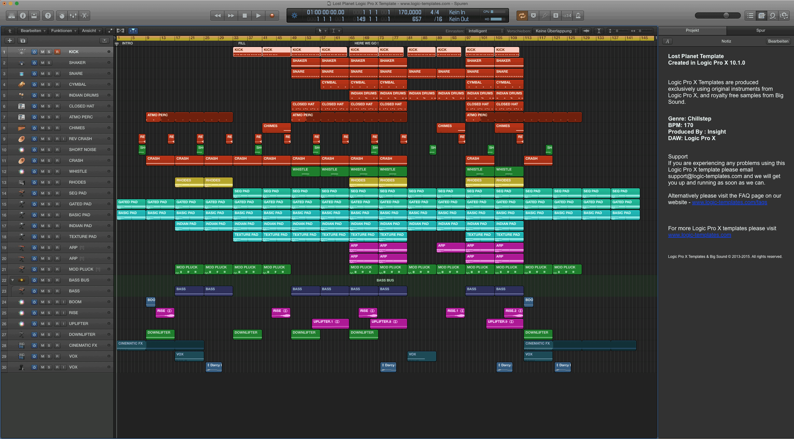 Lost Planet Logic Pro X Template