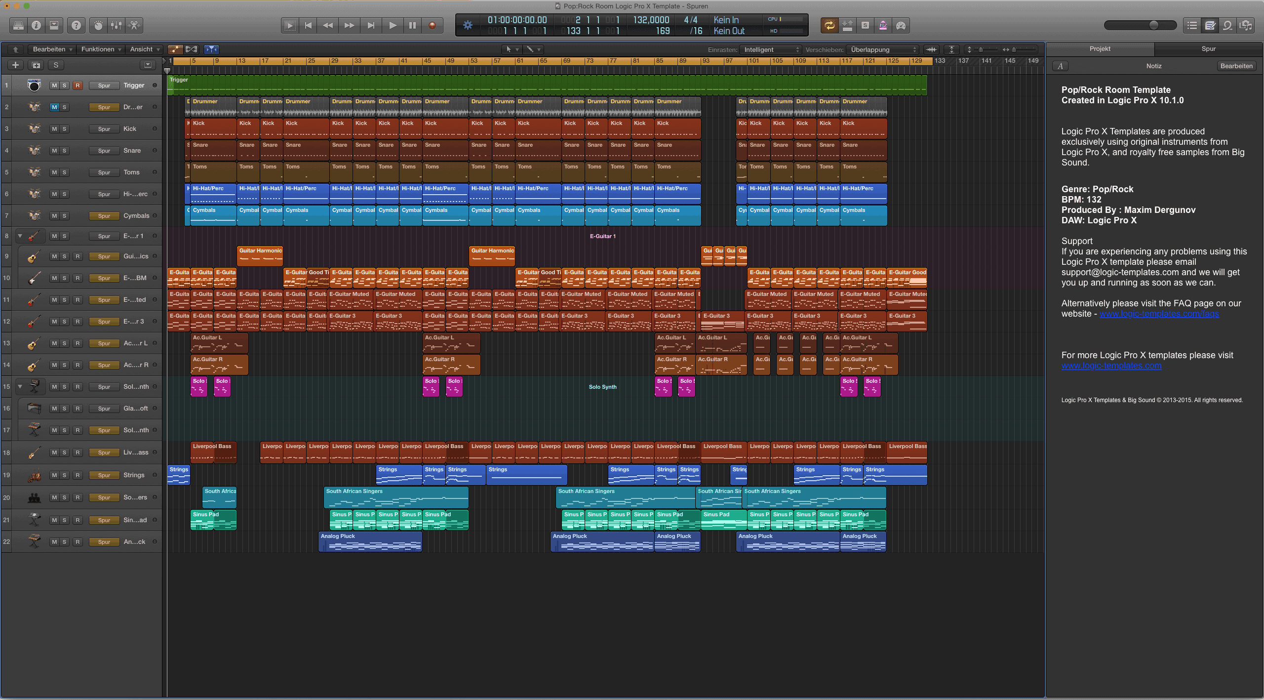 Pop:Rock Room Logic Pro X Template