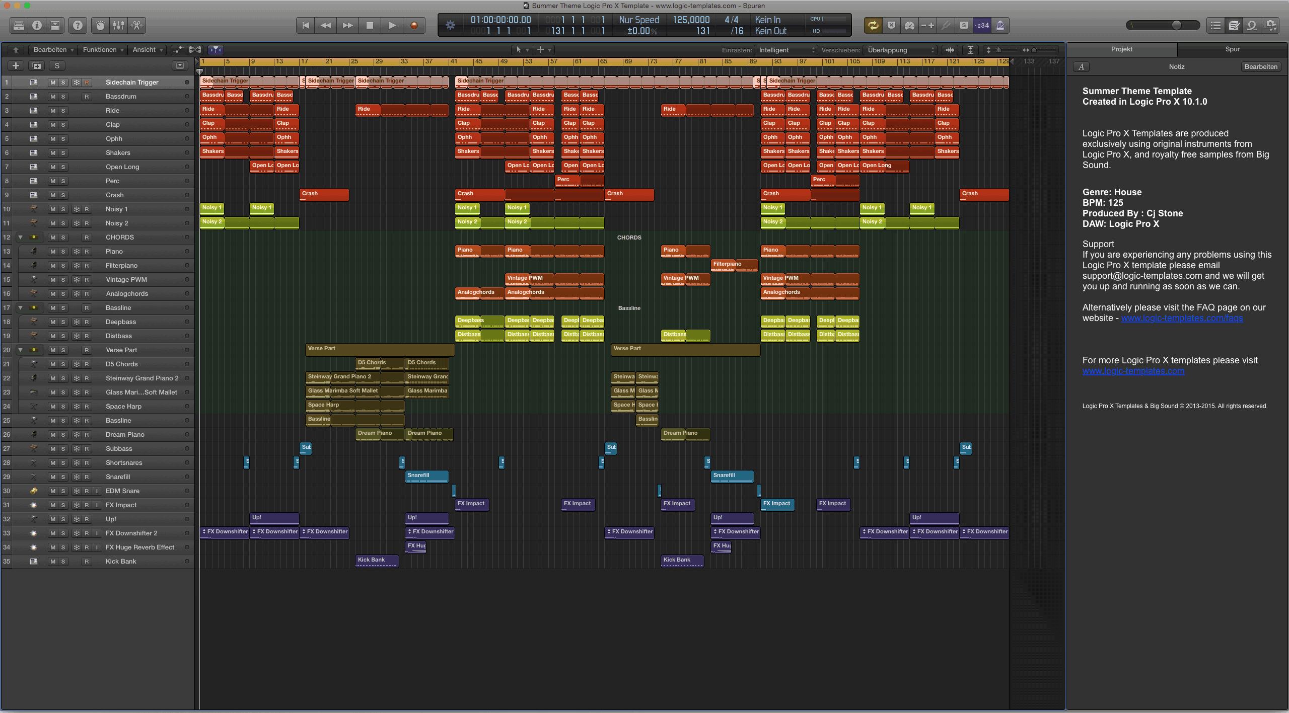 Summer Theme Logic Pro X Template