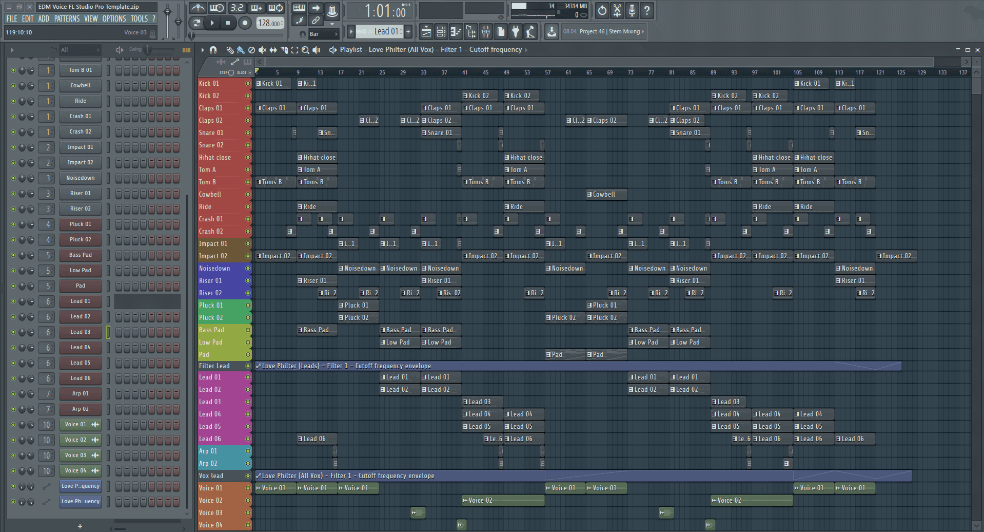 EDM Voice FL Studio Pro Template - Edm template