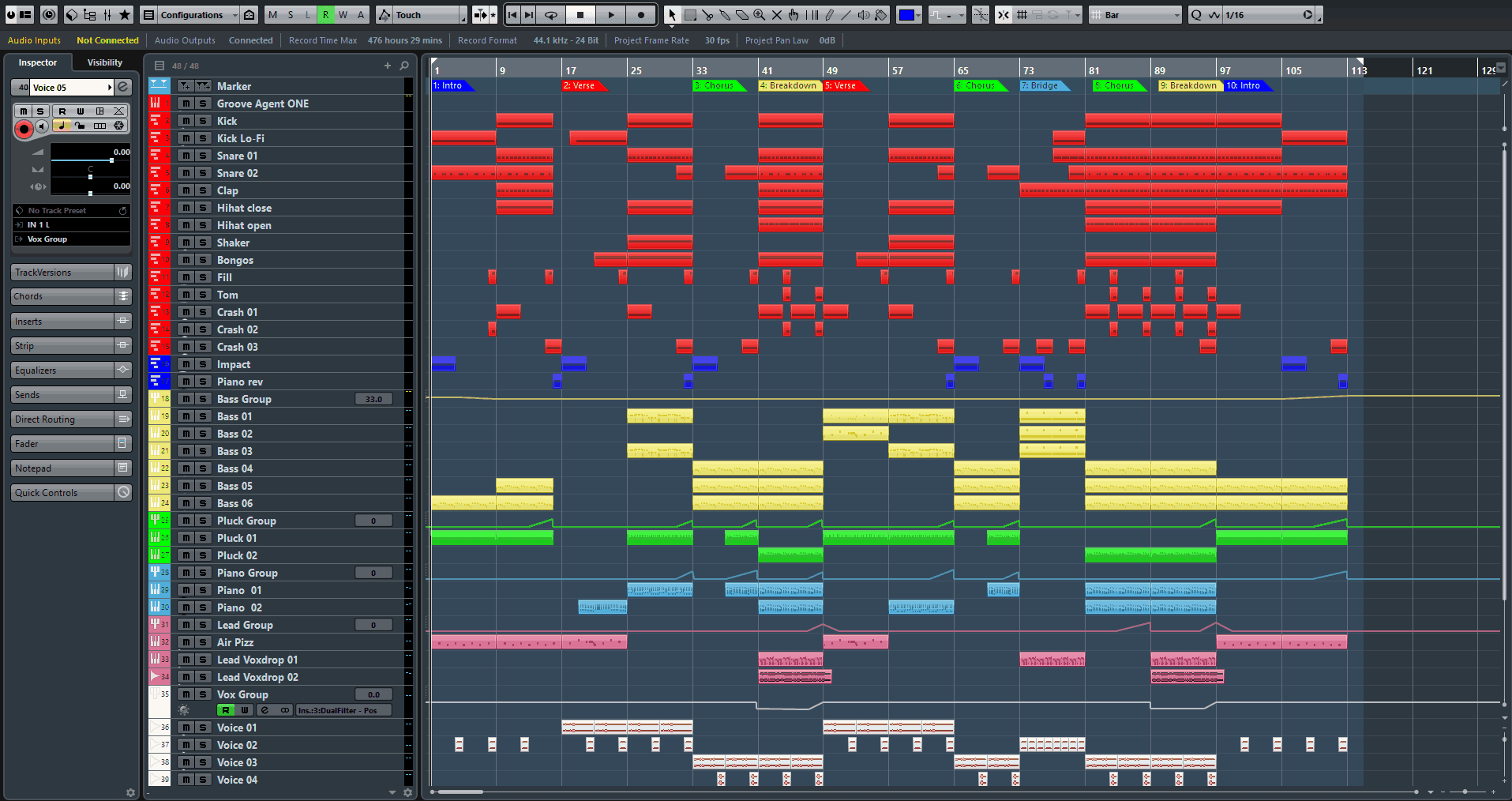 Riding Cubase DAW Template
