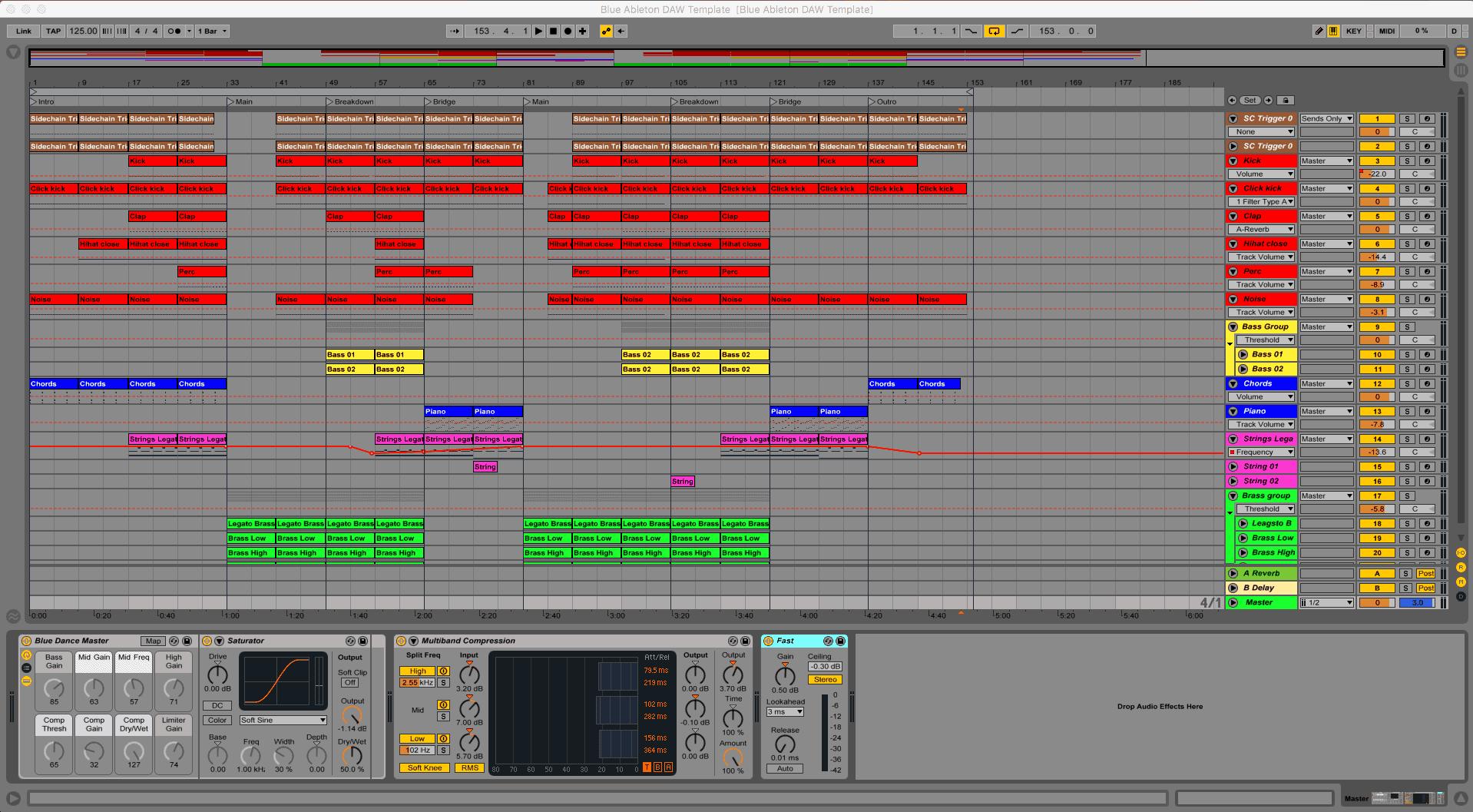 Blue Ableton Live Template