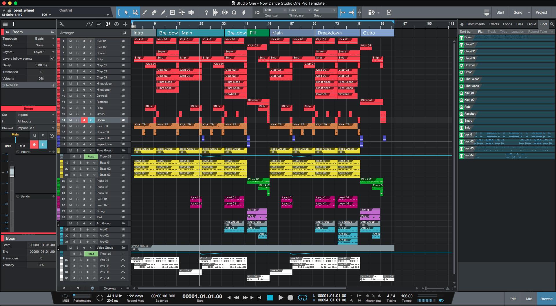 now dance studio one pro template